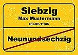 Ortsschild aus Aluminium in DIN A5, A4 und DIN A3 Geburtstag Deko Geschenk Verkehrsschild, Schildausführung:70 Jahre, Größe:A3-420 x 297