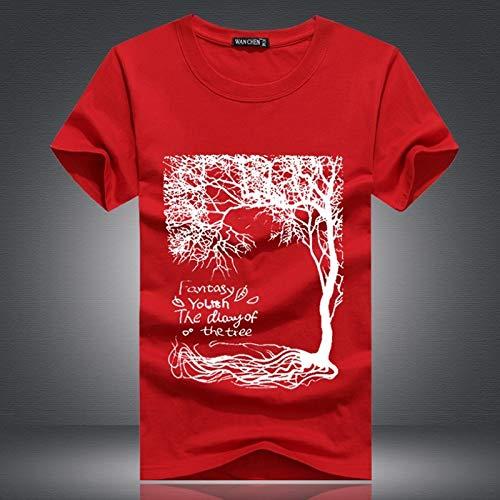 AVJDJNeue Sommer Marke Large Size T-Shirt Mann Runde Kragen Kurzarm T-Shirt Männer Mode T-Shirt mit kurzen Ärmeln S-5xl L Rot -