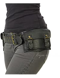 EYES OF INDIA - EYES OF INDIA - BLACK LEATHER BELT WAIST HIP BUM BAG POUCH Fanny Pack Utility Pocket Travel Phone