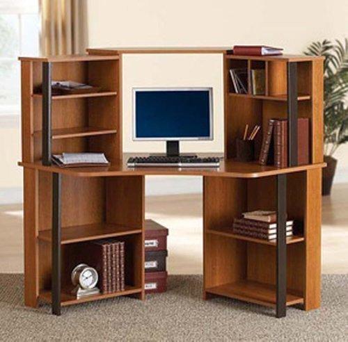 Corner Computer Desk Workstation with hutch, Brown by Mainstays