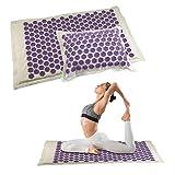QIYU Yogamatte Akupressurmatte,Akupunktmassagekissen/Akupunktmassagekissen-Set/Yogamatten-Set, Linderung von Rücken, Nackenschmerzen und zur Muskelentspannung