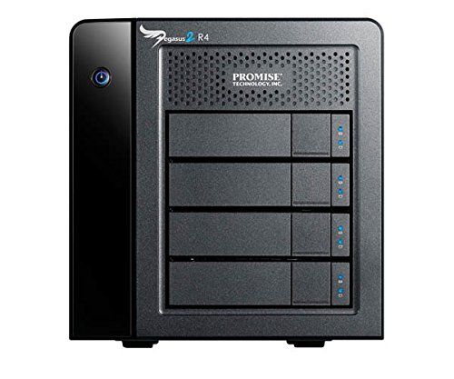 PROMISE - Pegasus 2 R4 RAID-System 12TB I Thunderbolt 2 Technologie I Hot-Swap-fähig I ideales RAID-System für Macs I Ultra-schnelles Festplatten-System zum Speichern von Datenmengen - Schwarz/6TB