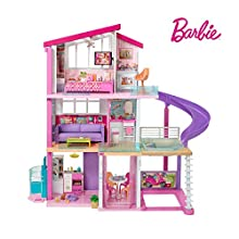 Barbie Estate Dreamhouse Adventures Large Three-Story Dolls House, Pink with Transforming Accessories Included Playset, 2019 Dreamhouse