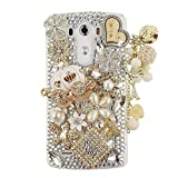 Spritech(TM) 3D Handmade Fashion Girl Woman Bling Luxury Coloured Diamond Design with Crystal Rhinestone?Pumpkin car Clear Hard Caver Case for LG G4 by Spritech