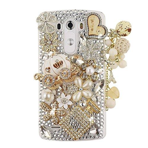 Spritech(TM) 3D Handmade Fashion Girl Woman Bling Luxury Coloured Diamond Design with Crystal Rhinestone?Pumpkin car Clear Hard Caver Case for LG G4 by Spritech Diamond Bling Hard Case
