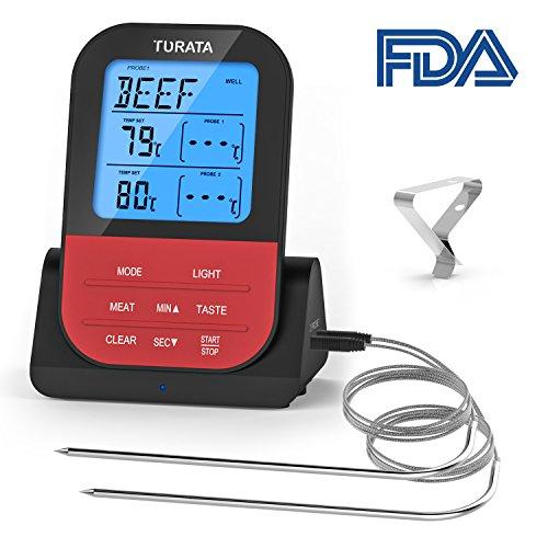 TURATA Bratenthermometer, Fleischthermometer Kabellos BBQ Bratenthermometer Digital Grillthermometer Doppelsonde Elektronische Küche Temperatur (Schwarz)