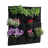 greemotion Pflanztasche - Wand-Pflanzkissen hängend vertikal Begrünung für Balkon & Terrasse Wandbegrünung mit 12 kleinen Pflanzbeuteln Grow Bag Schwarz aus Kunststoff-Filz für Kräuter und Blumen