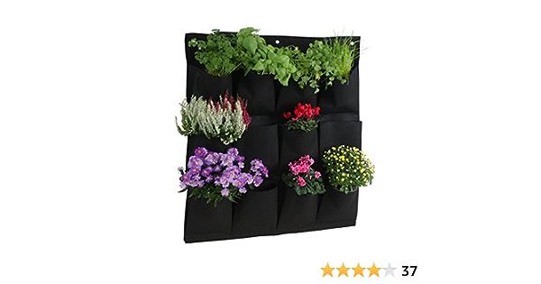 Sacs /à Fleurs Suspendus Pouch Plant pour Balcon et Mur de Patio Greening House Wall Balcon Jardin Vert Grow Planteur avec 9 poches Noir Sacs de Plantation Suspendus Fix/és au Mur
