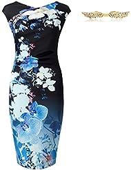 BYD Mujeres Vestidos el Color Bloqueado Elegante Ajustado Impresión Floral Casual Vestido de Verano
