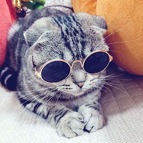 LXLLXL Sonnenbrille für Haustiere, Katzen, Retro-Optik, lustiges Foto-Requisite, für Katzen, Persönlichkeitsschmuck, Welpe