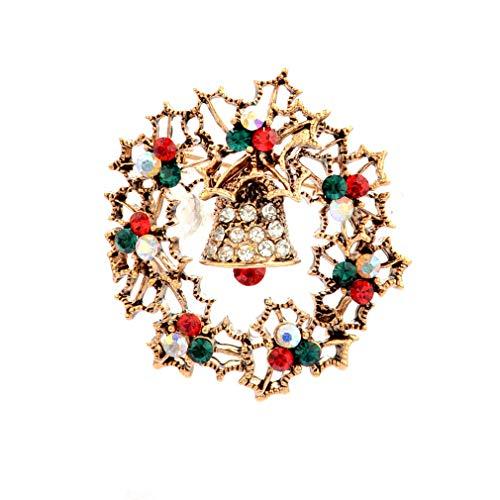 (HYhy Christmas Bell Diamant Pin Brosche Pins Gold plattiert Weihnachtsbaum Bell Kunst Handwerk Muster Crystal Strass Brosche Schmuck Geschenke für Frauen Mädchen, goldene Glocke)