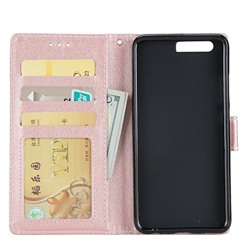 Classic Premiu PU Ledertasche, Horizontale Flip Stand Case Cover mit Cash & Card Slots & Lanyard & Soft TPU Interio Rückseite für Huawei P10 Plus ( Color : White ) Rosegold