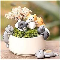JwlqAy Exterior Interior Fairy Garden Kit Miniatura Gatos Lindos Micro Paisaje Ornamento Bonsai DIY Decoración (Colorido)