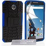 Yousave Accessories Silikon Combo-Ständer Schutzhülle für Motorola Nexus 6–Blau/Schwarz