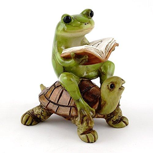 Top Collection Jardin Féérique miniature et Terrarium Grenouille Statue de livre de lecture de tortue, petite