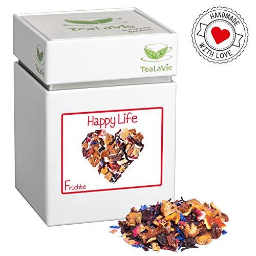 TEALAVIE - Früchtetee lose | Happy Life - tropische Ananas mit Erdbeere und Aprikose | warm & kalt | 100g Dose loser Früchte Tee