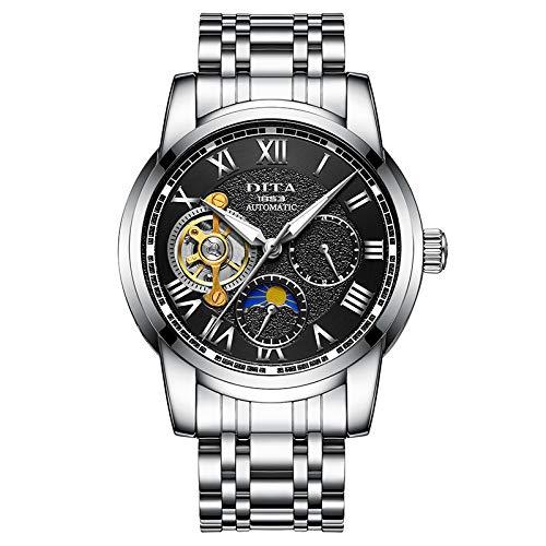 BIWNXAQ Trend Men'S Watch Hollow Sports Watch Men'S Automatic Mechanical Watch Waterproof, Natural Black Steel Strip