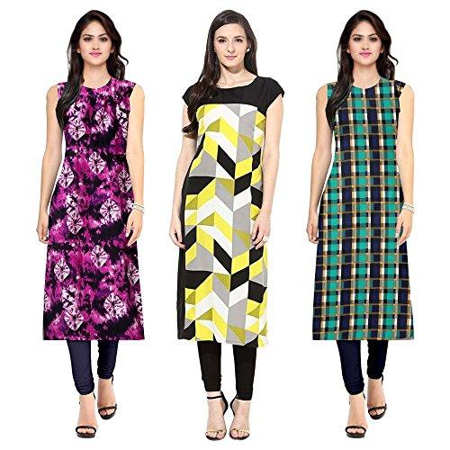 Pramukh Fashion Women\'s crape kurtis (1055.1051.CRAPE YELLOW)_Free Size semi stich