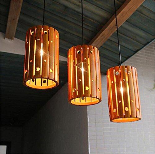 Innenbeleuchtung Kronleuchter Lampen moderner Anhänger die Schlafzimmer Esszimmer Lounge Café handgewebte Reine und einfache Schatten unsichtbare Bambus Lampen 220V (Schatten Bambus-designer)