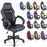 TRESKO® Racing directeursstoel bureaustoel draaistoel 14 kleurvarianten, gevoerde armleuningen, wipmechaniek, liftsysteem SGS-getest (zwart/zwart)