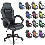 TRESKO Racing Style Faux Leather Office Chair Executive Chair Swivel Chair Black, 14