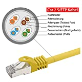 rocabo 30m CAT 7 - Patchkabel Netzwerkkabel LAN-Kabel - 2x RJ45 Netzwerk-Stecker - Ethernet Gigabit LAN Switch Router - S/FTP (PiMF) Schirmung - LSZH Halogenfrei - gelb -