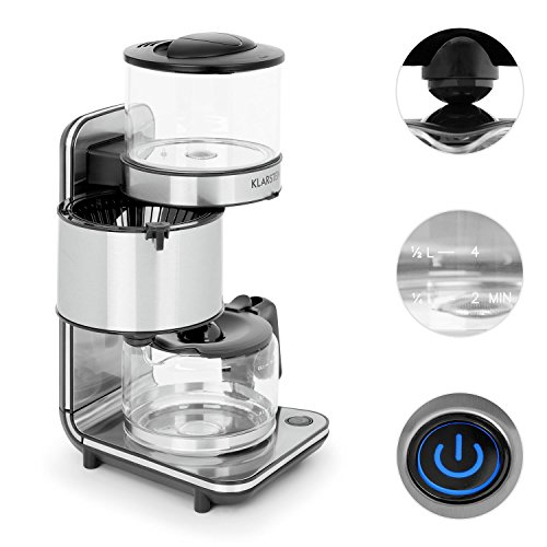 Klarstein Soulmate Coffee Machine • Filter Coffee Machine • 1800W • 1.25 Litre Capacity • Glass • Device Base with Brushed Stainless Steel Surfaces • Removable Filter Container for Easy Cleaning • Holding Plate with Auto Shut-Off after 40 minutes • Silver