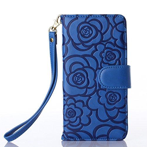 Pour iPhone 6/6s Coque, iNenk® Retro Une fleur Modèle Téléphone Coque PU Cuir Portefeuille Carte Chaîne Téléphone Coque Housse protection-De couleur crème Bleu