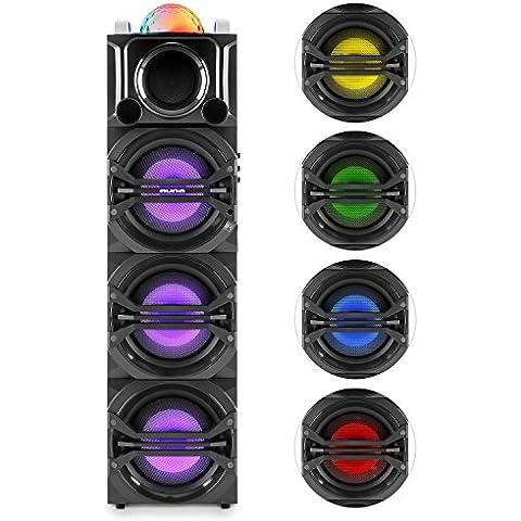 auna DisGo Box 365 altavoz para fiestas (luz LED multicolor, Bluetooth, puerto USB, micrófono inalámbrico, radio) -