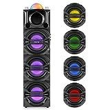 auna DisGo Box 365 Système audio karaoké Bluetooth (3 haut-parleurs Subwoofers, enceinte portable, micro sans fil, radio FM, port USB, compatible MP3, entrée AUX)