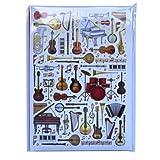 Carnet de notes A5 - Instruments de musique Conception - 60 feuilles = 120 pages - Ligné et ruban de soie - Taille - 210mm x 148mm
