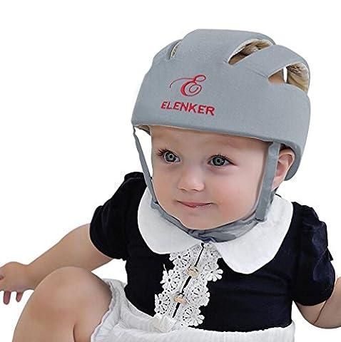 ELENKER Casque de sécurité ajustable pour bébé Casque de protection pour marche Gris