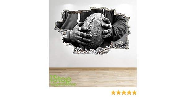 Large 70 cm x 111 cm gar/çons Chambre denfant Sport Autocollant Mural Z606 1Stop Graphics Shop Rugby Autocollant Mural 3D Look
