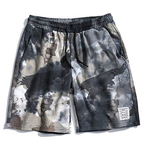 Feidaeu Männer Shorts Druck Camouflage Elastische Taille Tasche Lose Gerade Beiläufige Aktive Jogging Fitness Hosen -
