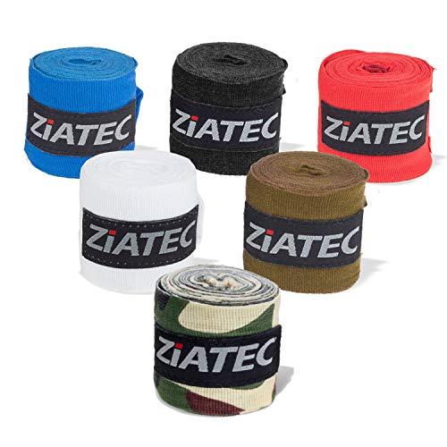 Ziatec Profi Boxbandagen [3m/4,5m] in 2er und 4er Sets viele Farben, Handgelenkbandage für Boxen, MMA, Muay-Thai und weitere Kampfsportarten, Größe:2 Paar, Farbe:1 x Weiss / 1 x blau