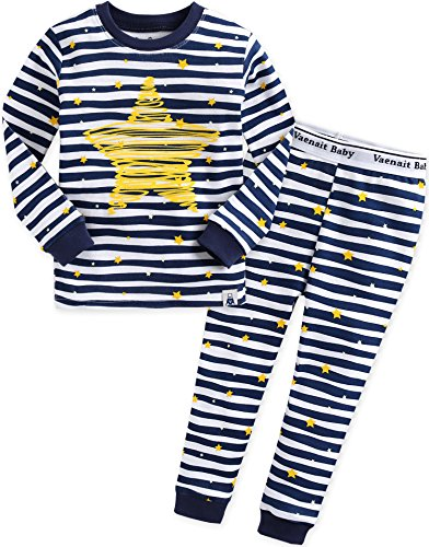 Vaenait Baby Kinder Jungen Nachtwaesche Schlafanzug-Top Bottom 2 Stueck Set Bling Blue L