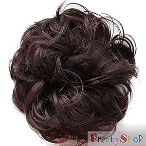 PRETTYSHOP queue de cheval postiche cheveux épaississement Chouchou updos fibre synthétique résistant à la chaleur bourgogne mix # 1/35 G23A