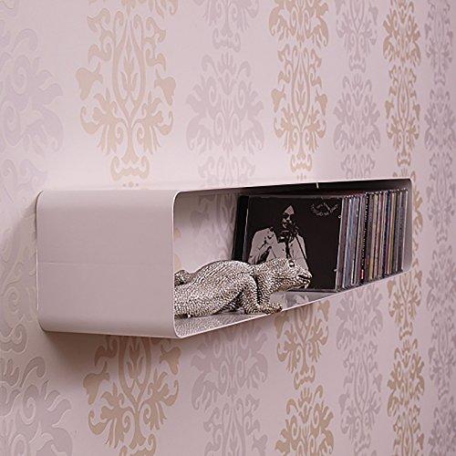 DESIGN DELIGHTS ÉTAGÈRE CD MURALE CUBE | blanc, 120 cm, métal laqué | style rétro, style 70s, pour 100 CDs