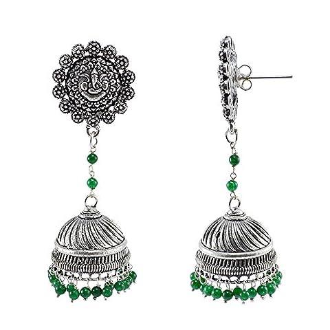 Silvestoo India Emerald Green Quartz Ganesha Studs Jhumka-Indian Jewellery-Traditional Earrings PG-107203