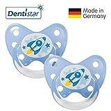 Dentistar® Latex Schnuller 2er Set inkl. 2 Schutzkappen - Nuckel Naturkautschuk Größe 3