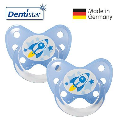 Dentistar® Latex Schnuller 2er Set inkl. 2 Schutzkappen - Nuckel Naturkautschuk Größe 3, ab 14 Monate - für Babys - Rakete, blau