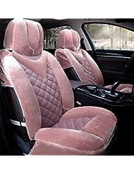 AMYMGLL Hochwertiger Autositz für 99% des Autos General Standard Edition (7sets) und Deluxe Edition 9sets) Plüsch Frühling und Herbst 4-Farben-Wahl