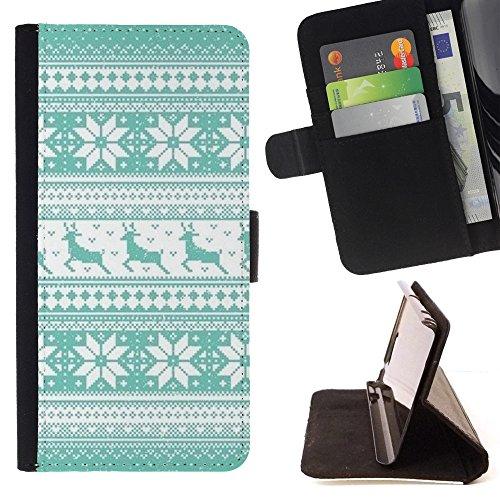 All Phone Most Case / Cellulare Smartphone cassa del cuoio della calotta di protezione di caso Custodia protettiva per SAMSUNG GALAXY C7 // Pattern Teal Reindeer Winter Knit