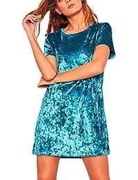 Tomayth Mujer Casual Cuello Redondo Manga corta Mini Vestidos Cóctel Vestido de Fiesta Elegante terciopelo