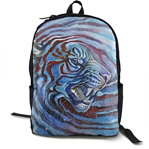 Einst Durable Polyester Daypack Starry Sky Tie Dye Siberian Tiger King Blue Reisening & Camping Backpack - Large Capacity Multipurpose Anti-Theft Carry-On Bag for Girls Boys (Sky Blue Tie-dye)