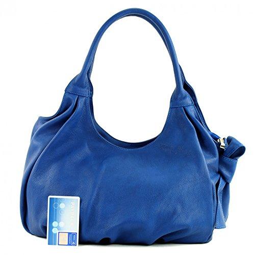 modamoda de - ital. Ledertasche Damenhandtasche Schultertasche Damentasche Nappaleder IT28 Blau