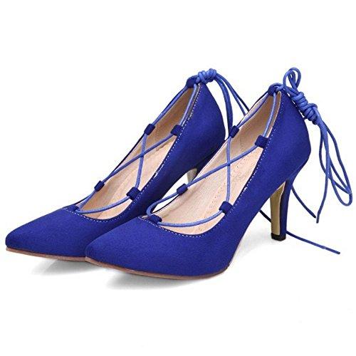 COOLCEPT Femmes Mode Talon Aiguille Escarpins Gladiateur Lacets Leopard Soiree Chaussures Bleu