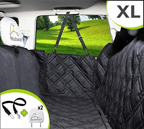 Meadowlark Coprisedile per Cani Auto Posteriore. XL Impermeabile! Telo Auto per Cani, qualità Superiore, Protezione Integrale per Portiere, Poggiatesta & Sedile. Accessori Cane Auto + Cintura