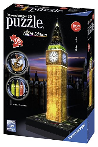 ravensburger 3d puzzle big ben bei nacht 12588 dreidimensionales puzzle im wundersch nen. Black Bedroom Furniture Sets. Home Design Ideas