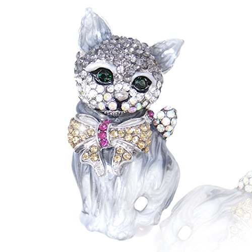 EVER-FAITH-Austraco-Cristal-3D-Gato-precioso-arco-Broche
